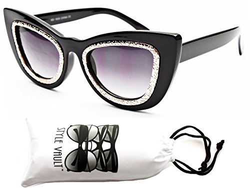 Wm3051-vp Style Vault Thick Bold Oversized Steampunk Cateye Sunglasses (B1452F - Glasses Mens 1950s