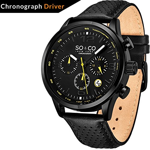 So and Co NY Mens Monticello Watch   Quartz Metal and Leather Sport   Stainless Steel Black