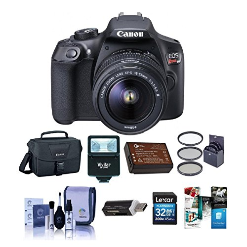 Canon EOS Rebel T6 DSLR Digital Camera with EF-S 18-55mm f/3.5-5.6 IS II Lens, Lexar SD 32GB MemoryCard, 58mm UV Filter Kit, Creative Suite Software,Value Accessory Kit.