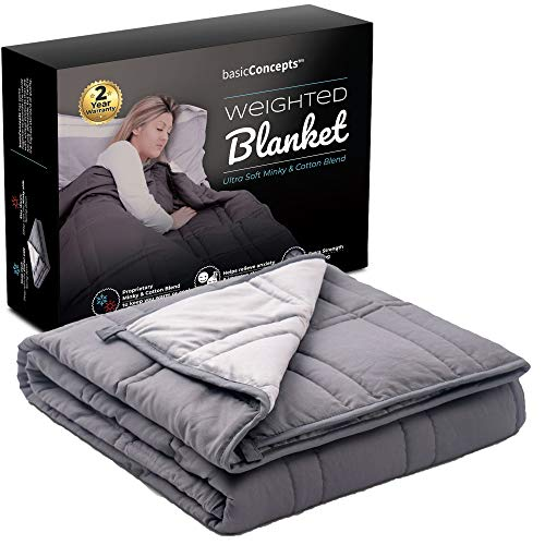 Cheap Weighted Blanket (15 lbs) Fall Asleep Faster and Stay Asleep Weighted Blanket for Adults and Kids (72 x 48) Machine Washable Heavy Anxiety Blanket Premium Adult Weighted Blankets Black Friday & Cyber Monday 2019