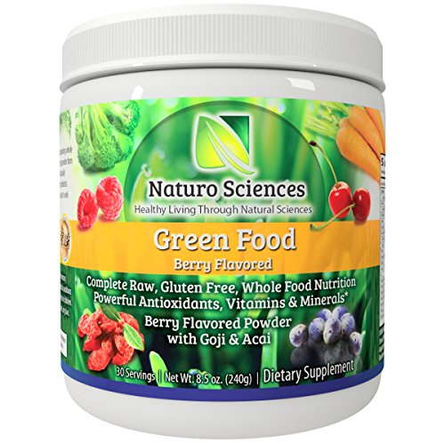 Raw Green Powder Superfood - 1g Natural Sugar Per Serving, 30 Day Supply - Antioxidant Supplement, Digestive Enzymes, Prebiotics & Probiotics, Fiber, Spirulina Powder - Greens Supplement Powder