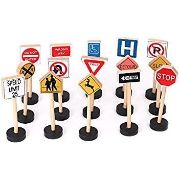 Amazon.com: Toy Wooden Road Construction Traffic Sign Set