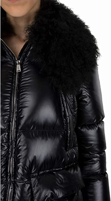 add Piumino Collo Pelliccia, Black, 44: Amazon.it: Abbigliamento