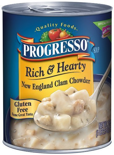 Progresso, Rich & Hearty Soup, Gluten Free, New England Clam Chowder, 18.5oz Can (Pack of 6) ()