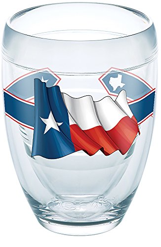 (Tervis 1270645 Texas Flag Tumbler with Wrap 9oz Stemless Wine Glass, Clear)