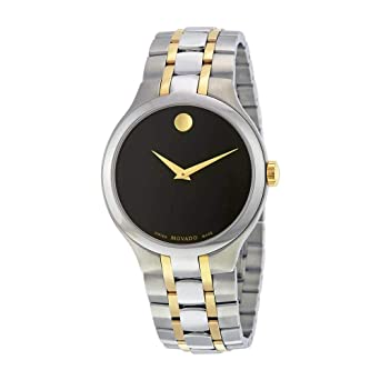 d1713799931 Image Unavailable. Image not available for. Color  Movado Black Dial Two-Tone  Mens Watch 0606958