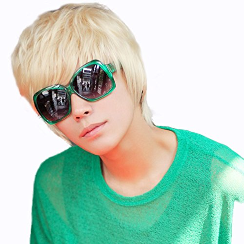 Justin Bieber Costume (Rise World Wig Cool Mens Boys Short 25cm Straight Blonde Hair Wigs Party Heat Resistant Cosplay)