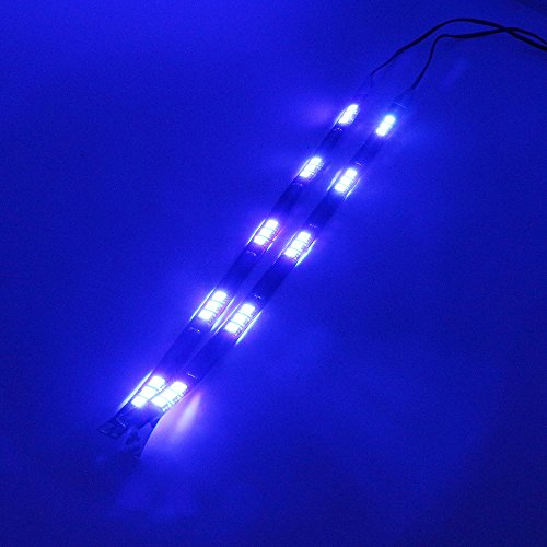 - Grandview 4 x 30cm 5050 15SMD LED Waterproof Flexible Light Strip Bar String Car Light For Decoration Interior Atmosphere Lamp Vehicle- Blue