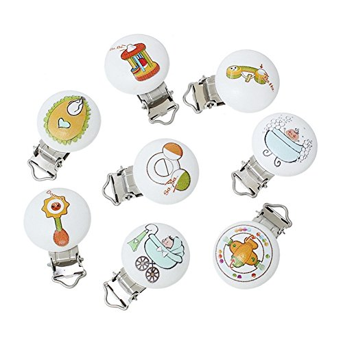 5pcs/Lot Colored Baby Pacifier Wood+Iron Safe Holder Infant Baby Pacifier Holder Clip Round Nipple Baby Feeding Accessories by TYPOST
