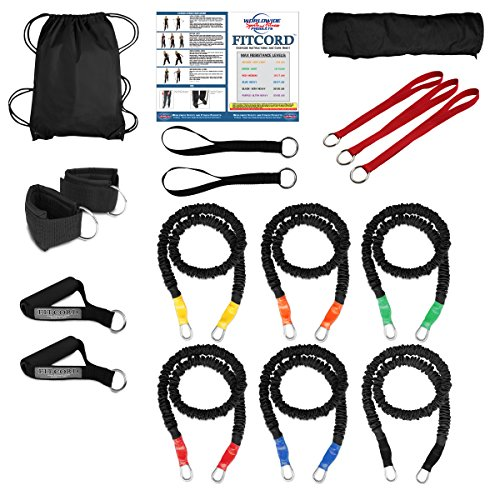 "FitCord ""BOSS"" Band Load Kits. American Made. Home & Portable Gyms include 6 Highest Grade Safety Sleeve Bands, Handles, Door Anchor, Ankle & Wrist Straps, Bag & Exercise Manual. Lifetime Warranty. by FitCord Resistance Bands"