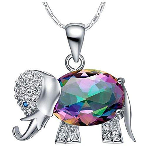 JewelleryClub Womens Elephant Necklace Silver Plated Colorful Swarovski Elements Crystal Pendant Necklace (Swarovski Necklace Elephant)