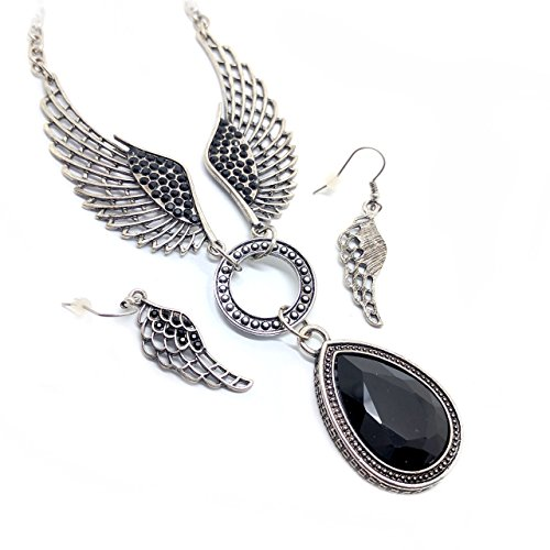 Antiqued Silver & Jet Black Crystal Teardrop and Angel Wing Necklace & Earrings Set - Faceted Silver Jet Tone