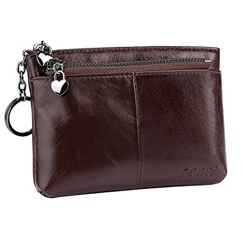 ne Leather Mini Wallet Change Coin Purse Card Holder with Key Ring (Coffee) (Leather Zipped Pouch)