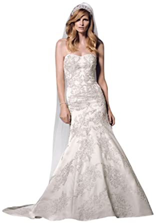 David\'s Bridal Sample: Strapless Satin Trumpet Gown with Lace Style ...