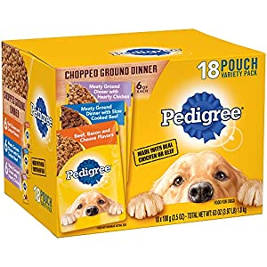 PEDIGREE Chopped Ground Dinner Adult Canned Wet Dog Food, 3.5 oz. Cans, 18 pouch Variety Pack