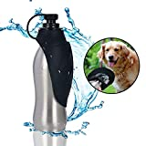ZOORON Portable Dog Water Bottle 304 Stainless Steel Silicone Dog Water Bowl Travel Water Bottle 20 OZ Great for Dog Outdoor Activities (Black)