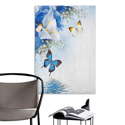 Camerofn Wall Mural Wallpaper Stickers Floral Blue and White Wild Flowers with Monarch Butterflies Lily Therapy Zen Spa Art Prints Pale Blue for Kids Rooms Boy Room W24 x H36