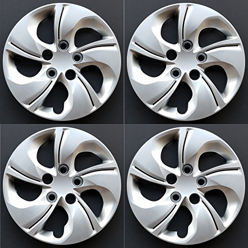 MARROW New Wheel Covers Replacements Fits 2013-2015 Honda Civic, 15 Inch; 5 Twisted Spoke; Silver Color; Plastic; Set of 4; Standard Leg