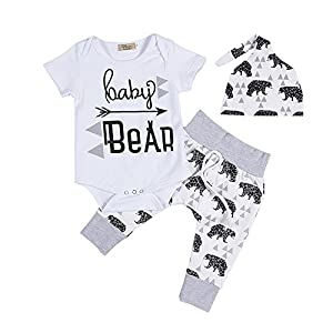 3Pcs Newborn Baby Boy Girl Summer Baby Bear Romper+Long Pants with Hat Outfits Set