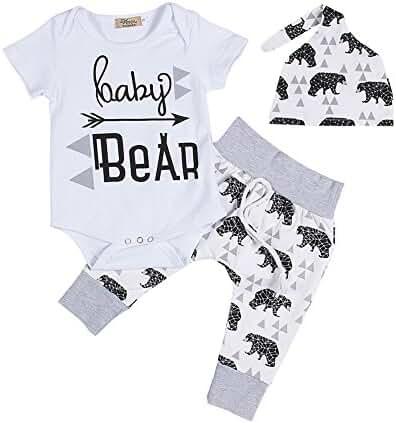 Newborn Baby Boy Girl Summer Short Sleeve Romper+Bear Pants+Hat Outfits Set (60cm/0-3 Months)