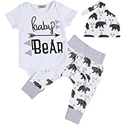 34e0e0f3f Newborn Baby Boy Coming Home Outfit Summer Short Sleeve Romper+Bear  Pants+Hat Outfits