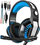 Beexcellent Gaming Headset, Stereo Gaming Headphones Noise Isolation / LED Light / Bass Surround Over-ear / Mic USB & 3.5mm Wired For PS4 PC Laptop Mac Games – Black+Blue For Sale