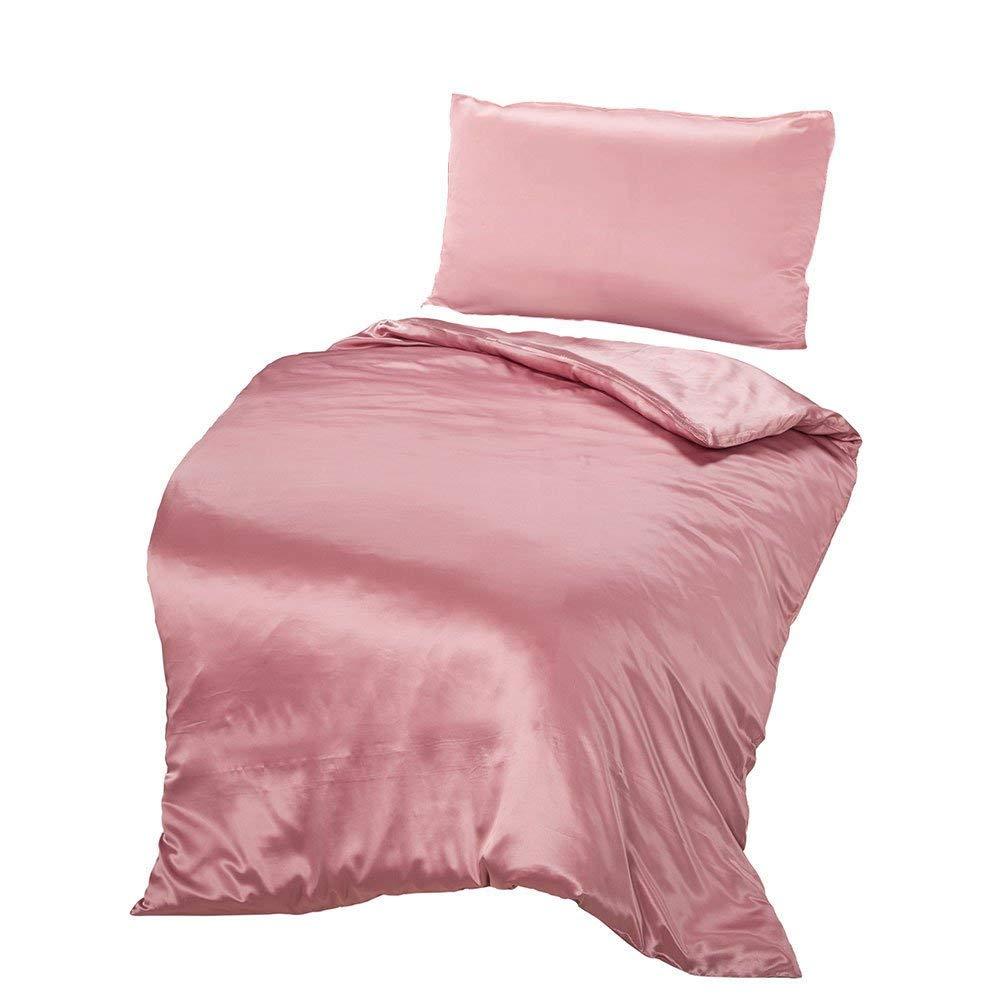 THXSILK Seide Bettwäsche-Sets 2 Teilig Bettbezug 155 x 220 cm mit 40 x 80 cm Kissenbezüge, 100% 19 Momme Bestnote Maulbeerseide Bettwäsche, Charme Rosa