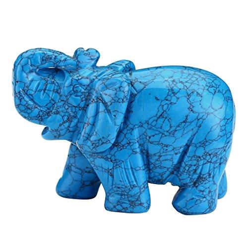 QGEM Blue Howlite Turuoise Lucky Elephant Pocket Carving Bookend Amulet Figurine Decor 3