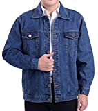 Fulok Mens Classic Rugged Motorcycle Trucker Denim Jean Jacket Coat Light Blue X-Large