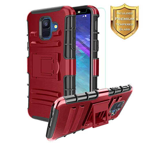 Samsung Galaxy A6 2018 Case,Galaxy A6 Case with Tempered Screen Protector,CaseBing [Heavy Duty][Built-in Kickstand][Dual Layer] Non-Slip Hybrid Full-Body Rugged [Shock Proof] Case Cover-PC-Red