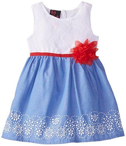 Girls Rule Little Girls' Lace Dress, Chambray, 3T