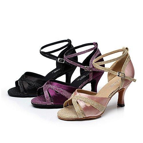 moderne grosso pelle T Swing Nero Practice neri Q in Tango Tacco Sneakers Salsa latini Jazz donna ballo Indoor Sandali Performance Scarpe T da per qFq78f