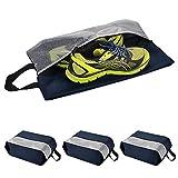MORJEAS Portable Travel Shoe Bags Dustproof Waterproof Nylon Zipper Storage Organizer for Men and Women- 4 Pack (Navy Blue)