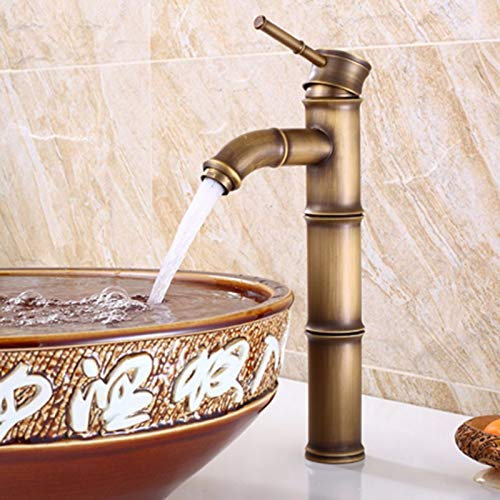 - ETERNAL QUALITY Bathroom Sink Faucets Kitchen Sink Faucets Vintage Bamboo Knot Copper Hot And Cold Basin Mixer Tap FQ694