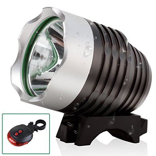 High Output Lamp Assembly - SXCtech™ - Water Resistant Rechargeable Super Bright Bike Light 1800 Lumen CREE LED Bike Headlight CREE LED Headlamp plus FREE LASER LED TAILLIGHT