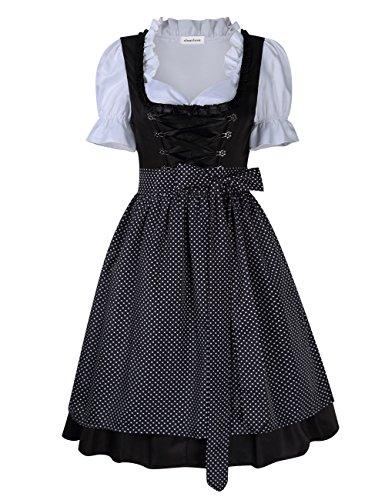 Yiwa Women's Dirndl Dress Black Dot Lace Trim Short Sleeve Three PCS Suit for Beer Festival -