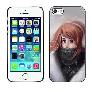 Qstar Arte & diseño plástico duro Fundas Cover Cubre Hard Case Cover para Apple iPhone 5 / iPhone 5S ( Girl Winter Art Drawing Snow Cold Headphones)
