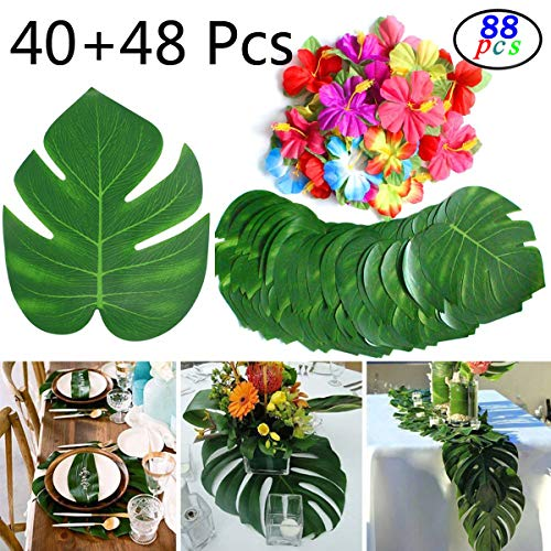 GPARK 88 Pcs Artificial Tropical Palm Leaves with Safari Faux Stems Leave + Summer Flowers for Wedding Birthday Hawaiian Jungle Beach Luau Party Table Suppliers Garden Greenery Decorations (Palm Garden Beach Flower)