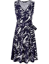 Womens Sleeveless A Line V Neck Vintage Floral Print Fit and Flare Dress With Belt