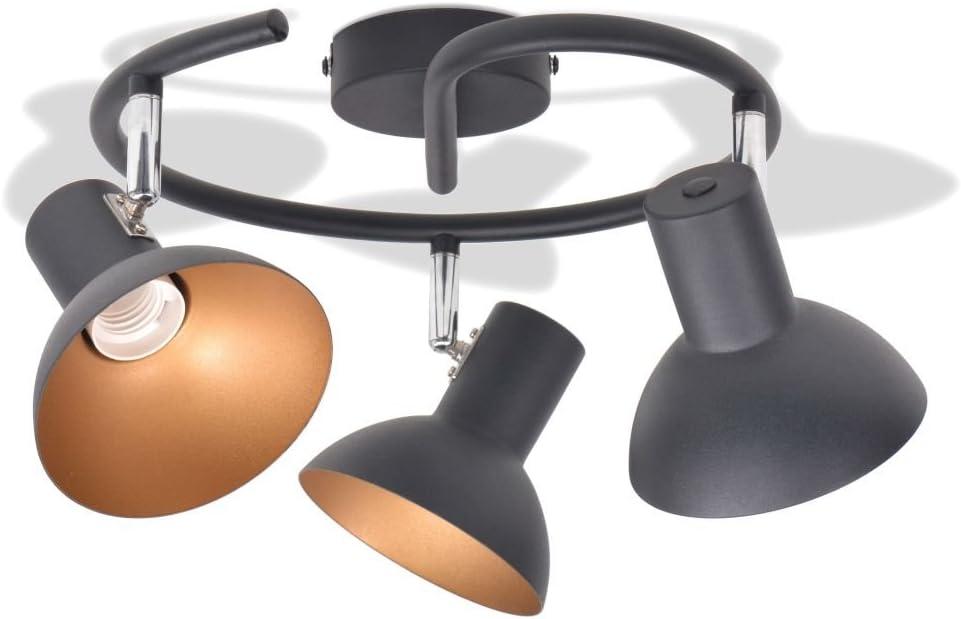 Plafonnier pour 3 ampoules E27 Noir et doré 244410