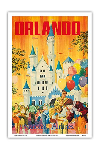 (Orlando - Florida, USA - Walt Disney World Resort - National Airlines - Vintage Airline Travel Poster by Bill Simon c.1970s - Master Art Print - 12in x 18in)