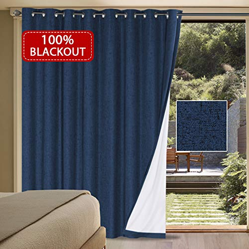 H.VERSAILTEX Waterproof Rich Linen Patio Curtain 100% Blackout Curtain Panels - Extra Wide Curtains Anti Rust Grommets Sliding Door Insulated Draperies (Navy, 100 x 84 Inch / 8.3' x 7')