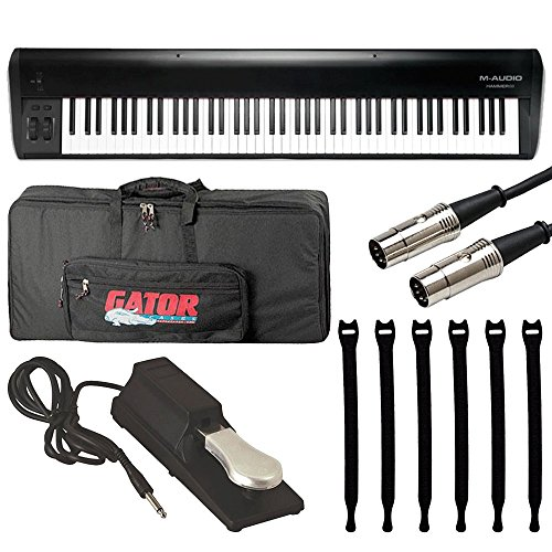M-Audio Hammer 88|88-Key Hammer-Action USB MIDI Keyboard Controller + On Stage Pedal + Gator 88 Note Keyboard Gig Bag + Hosa MID-503 Serviceable 5-Pin + OP/TECKH USA 8-inch Strapeez - TOP M-AUDIO KIT! by M-Audio