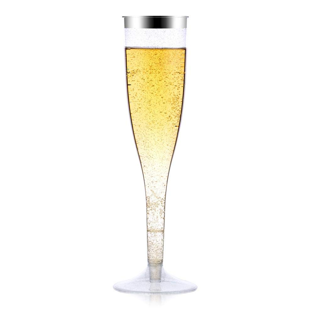 PARTYSOME 50x Plastic Silver Glitter Champagne Flutes (5.5 oz), Disposable Wine Glasses, Wedding, Anniversary, Engagement Party & Bridal Shower Decorations, 21st/30th/50th Birthday, Cocktail, Mimosa