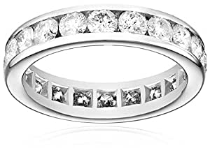 14k White Gold Channel-Set Diamond Eternity Band (3 cttw, I-J Color, I2-I3 Clarity), Size 4