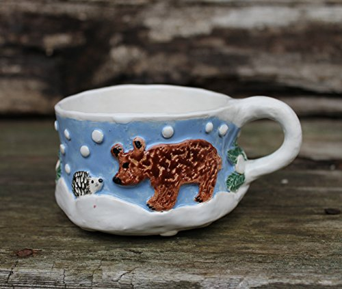 (Bear, hedgehog and hares sculptured mug, lavender blue and white tea cup, small soup mug, ceramic mug hand built, pottery cup hand painted)