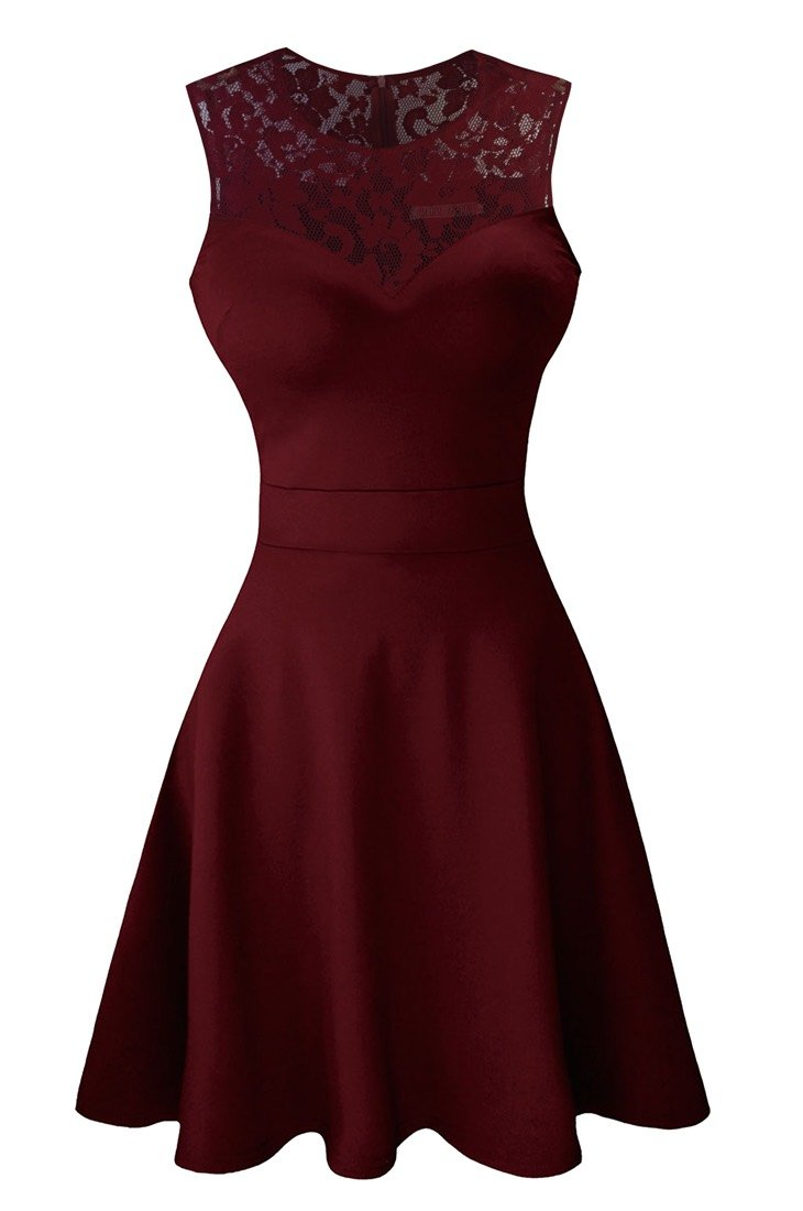Sylvestidoso Women's A-Line Sleeveless Pleated Little Wine Red Cocktail Party Dress with Lace Back (S, Wine)