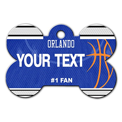 BleuReign(TM) Personalized Custom Name Basketball Orlando License Plate Auto Tag Bone Shaped Metal Pet ID Tag with Contact Information