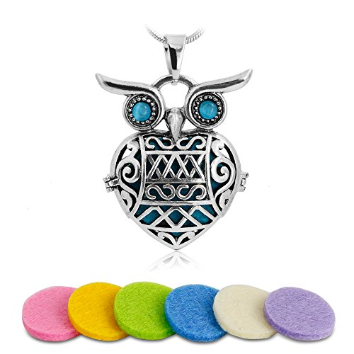 Aromatherapy Essential Oil Diffuser Necklace Owl Locket Pendant with 6 Multi-Colored Refill Pads and 24