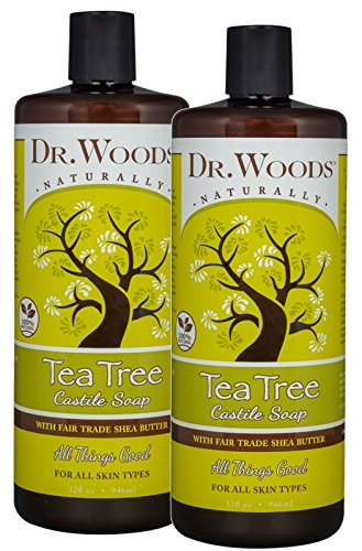 Dr. Woods Pure Tea Tree Liquid Castile Soap with Organic Shea Butter, 32 Ounce (Pack of 2)